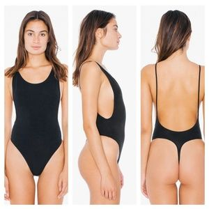Black Cotton Spandex Deep Cut Thong Bodysuit M